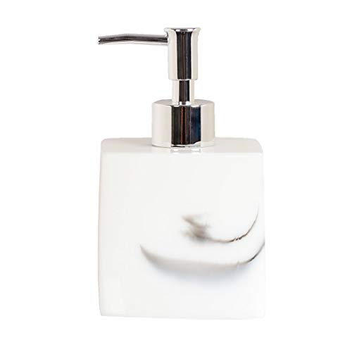 uxcell 13.5oz Resin Soap Dispenser Bottle with Plastic Pump, Refillable White Faux Marble Empty Liquid Dish Soaps Bottle for Bathroom Kitchen, Square