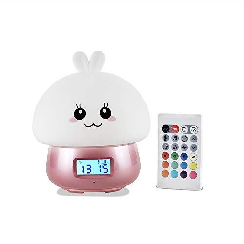 Kids Alarm Clock Girls,GoLine Light Clock Kids to Stay in Bed,Sleep Training Clock for Toddlers,Cute Alarm Clocks for Teen Little Girls Children Bedroom,2019 Birthday Gift Ideas.