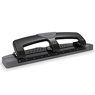 Swingline 3 Hole Punch, Hole Puncher, 12 Sheet Punch Capacity, Low Force, SmartTouch, Black/Gray (74134)