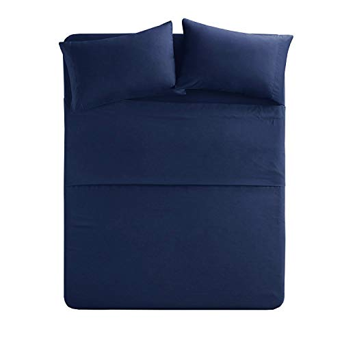 Ruikasi Bed Sheet Sets-4 Piece Bedding Set Ultra Soft Microfiber,Up to 18″ Deep Pocket Fitted Sheet,Comfy and Natural for Bed,Kids (Blue, King)