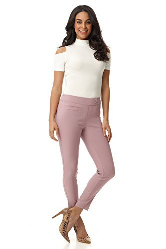 Rekucci Women's Ease in to Comfort Slim Ankle Pant with Snaps (16,Lavender Mist)