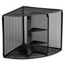 Corner Shelf Organizer, Metal Mesh, 14''''x14''''x13-1/2'''', Black, Sold as 1 Each
