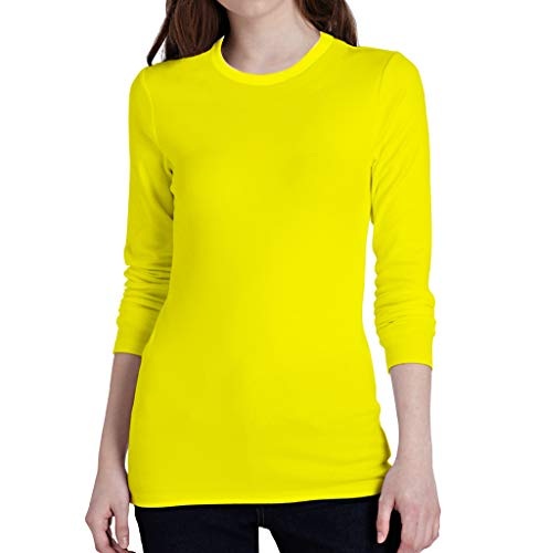 Miracle(Tm) Wicking Athletic Underscrub Tshirt for Womens - Adult Neon Sport Running Fitness Long Sleeves Yellow Shirt (S)