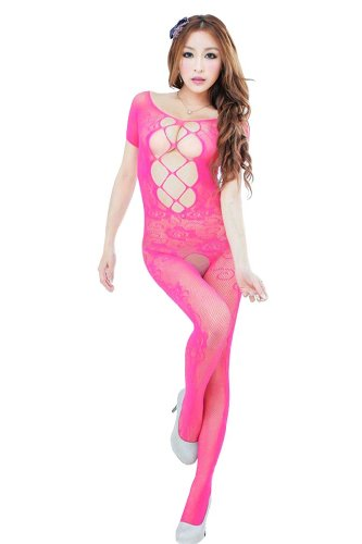 Amour- Valentine's Day Lingerie Sexy Lace Cut Out Strings Bodystocking Bodysuit