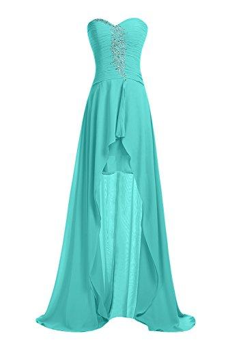 Women's Formal Dress Hi-Lo, Sweetheart Neck Chiffon Evening Gown with Beadings-Hunter Green-8 (Sweetheart Beading Chiffon Neck)