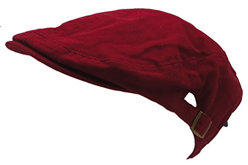 (Men's Cotton Flat Cap Ivy Gatsby Newsboy Hunting Hat, Red, One Size)