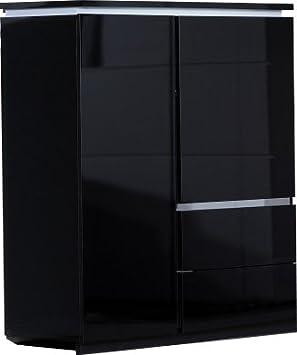 Comforium Armoire De Rangement 2 Portes Noir Laque Eclairage Amazon