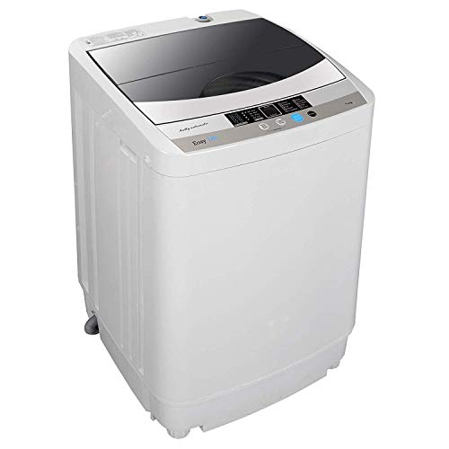 HomGarden Portable Full-Automatic Washing Machine 1.6 Cu. ft. Multifunctional 10lbs Load Mini Laundry Washer/Spinner w/Drain Pump & Drain Pipe, 5.74 FT Power Cord