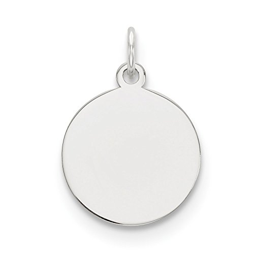 14k White Gold .013 Gauge Circular Engravable Disc Pendant Charm Necklace Round Plain Fine Jewelry Gifts For Women For Her