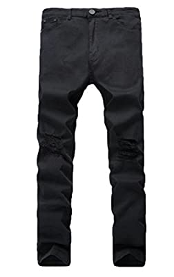 Frieed Men Stretchy Hole Distressed Ripped Flat-Front Stylish Denim Jeans Pants