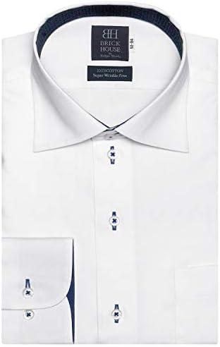 ブリックハウス ワイシャツ 長袖 形態安定 ワイド ピマ綿100% 標準体 メンズ BM010103AB12W4X-90 シロ L-82
