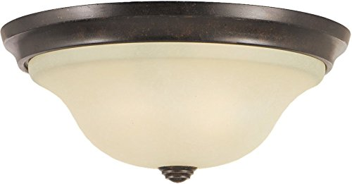 (Feiss FM251GBZ Vista Glass Flush Mount Ceiling Lighting, Bronze, 2-Light (13