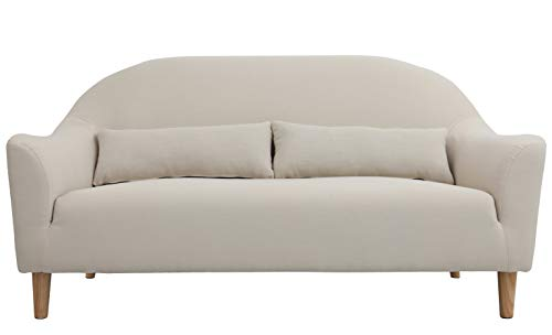 (Modern Design Deep Seat Fabric Sofa Loveseat (Beige))
