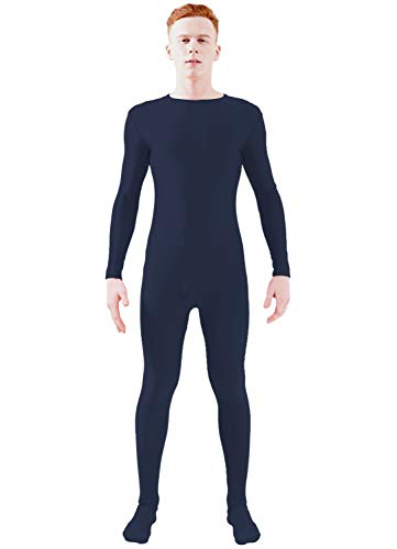 Ensnovo Adult Lycra Spandex One Piece Unitard Full Bodysuit Costume Navy Blue, XXL]()