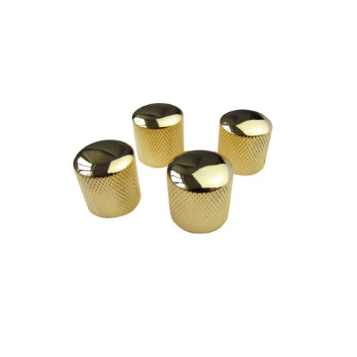 Gold Dome Knobs - Musiclily Metal 6mm Knurling shaft Dome Control Knobs for Electric Guitar or Bass, Golden (Pack of 4)