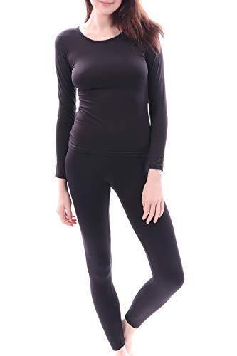 (Women's Microfiber Fleece Thermal Underwear Long Johns Set AZ 2000 Black M)