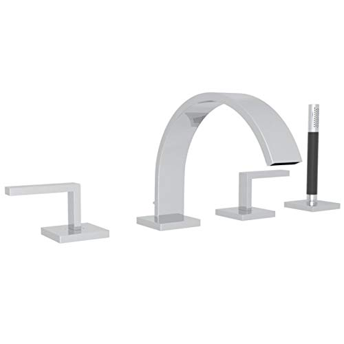 Rohl WA26L-APC Cisal Wave Four Hole Deck Mounted Tub Filler with Lever Handles, Polished Chrome