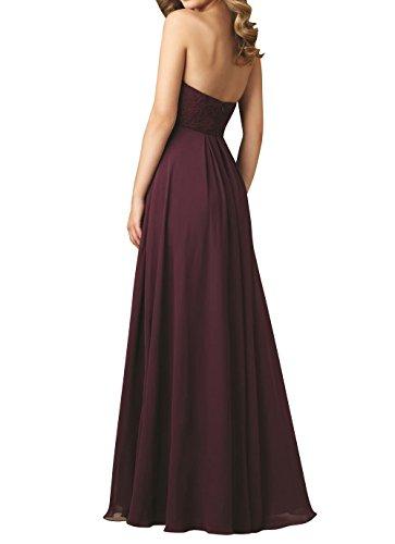 Brautmutterkleider Abschlussballkleider Chiffon Elegant mia Brautjungfernkleider Brau Abendkleider La Jugendweihe Kleider Burgundy Spitze vnzYwdf