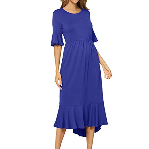 Women's Summer Casual T Shirt Dresses Flared Sleeve Empire Waist Maxi Dress Vintage High Low Ruffle Hem A Line Midi Dress Blue ()