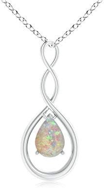 ANGARA Octubre Piedra Natal – Collar con Colgante de ópalo Natural con Forma de Pera Infinito para Mujer