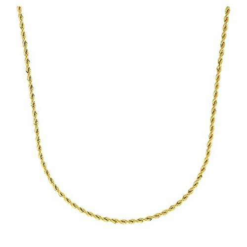 Cy-Trendy 3mm 24K Gold Plated Rope Link Chain Necklace, 18'-30' Inches -