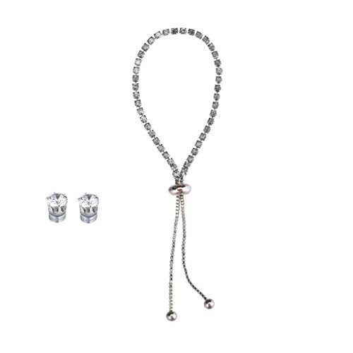 Orcbee  _Fashion New Popular Diamond Rhinestone Bracelet Earrings Set Gift for Women -