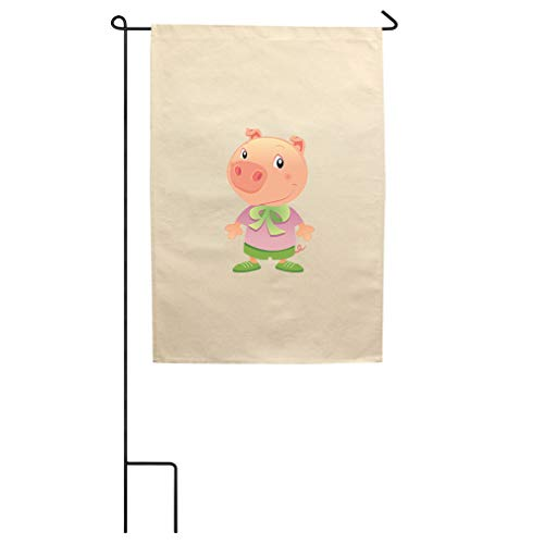 Style In Print Pig Dressed Up Animals Cotton Canvas Yard House Garden Flag Flag Flag & Pole 18