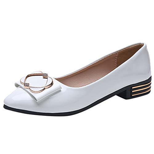 Toe Bowknot Low Cut - Women's Bowknot Low Heel Pu Leather Slip On Shoes Low Cut Pointed Toe D'Orsay Dress Pumps Shoes