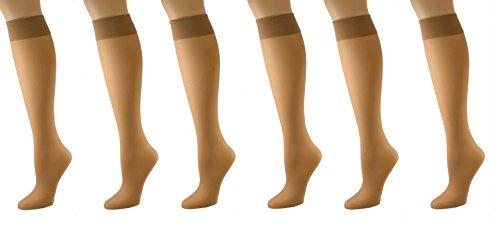 Sierra Queen (Sierra Socks Stay Up Knee Hi 6-Pair Pack Nylon Socks 4000 (Fits Shoe Size: 10 ½-12, Nude))
