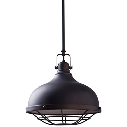 Stone Beam Industrial D cor Grill Pendant Indoor Ceiling Chandelier Fixture With Light Bulb – 12 Inch Shade, 15 – 63 Inch Cord, Oil-Rubbed Bronze