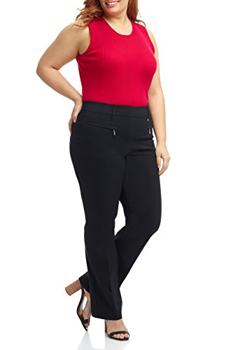 (Rekucci Curvy Woman Bootcut Plus Size Pant with Zipper Pockets (24WSHORT,Black))