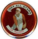 1964 Topps Metal Coins (Baseball) card#158 Jim Maloney of the Cincinnati Reds Grade very good/excellent
