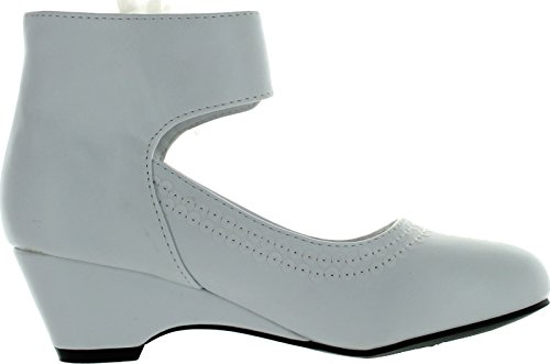 Pictures of Leatherette Chiffon Bow Ankle Cuff Kiddie Heel Wedge Sandal (Toddler/Little Girl/Big Girl) BA62 - White 4
