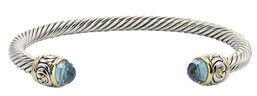 John Medeiros Beautiful Nouveau Collection Wire Cuff Bracelet Aqua Cubic Zirconia (Wire Cuff)
