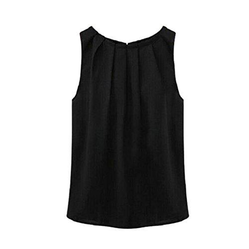 Etosell Femmes Sans Manches Casual Plisse Hauts Pour Ete (X-Large, Noir)