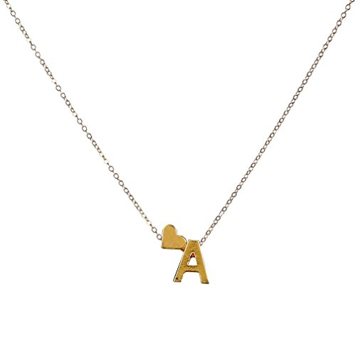 Fashion Women Gift 26 English Letter Name Love Heart Chain Pendant Necklaces Jewelry ,Tuscom (A)