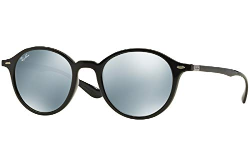 - Ray-Ban Injected Unisex Sunglasses - Black Frame Silver Flash Lenses 50mm Non-Polarized
