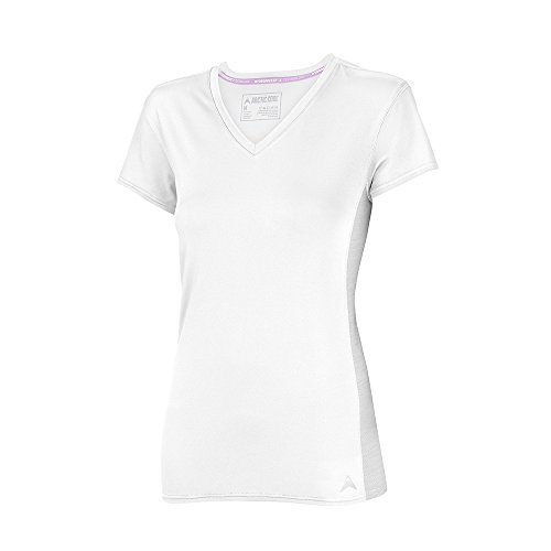 Arctic Cool Women's V-Neck Instant Cooling Shirt with Mesh Side Panels , Arctic White, S