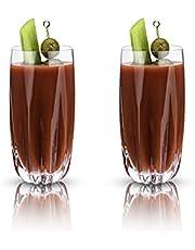 Viski Cactus Crystal Highball Cocktail Glasses, 16 oz, Clear
