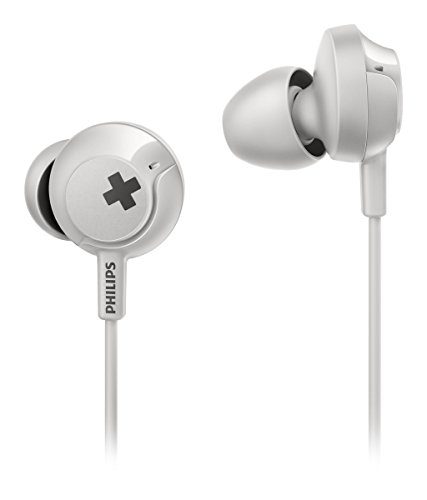 Philips Bass+ SHE4305 Headphones with Mic (White)