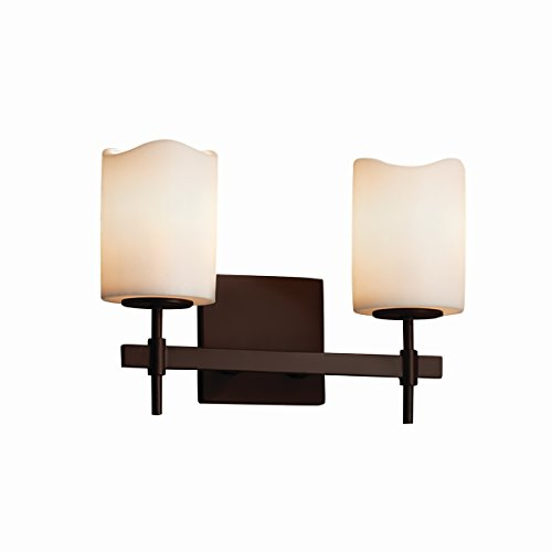 - Justice Design Group Lighting CNDL-8412-14-CREM-DBRZ-LED2-1400 Candle Aria-Union 2-Light Bath Bar-Cylinder with Melted Rim Shade-Cream-LED, Dark Bronze