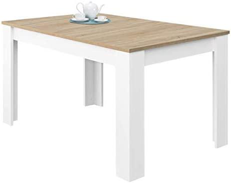 Habitdesign 0F4584A - Mesa de Comedor Extensible, Mesa salón o Cocina,  Acabado en Color Blanco Artik y Roble Canadian, Modelo Kendra, Medidas:  123-173 ...