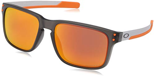 Oakley Men's OO9384 Holbrook Mix Rectangular Sunglasses, Matte Grey Smoke/Prizm Ruby, 57 ()