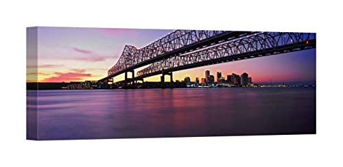 Easy Art Prints Panoramic Images's 'Crescent City Connection Bridge, River Mississippi, New Orleans, Louisiana' Canvas Art 36 x 12 from Easy Art Prints