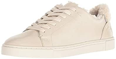 FRYE Women's Ivy Shearling Low Lace Sneaker, Off White, 5.5 M US