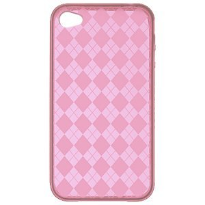 Premium TPU Flexi Argyle Gel Skin for Apple iPhone4, 4th Generation, 4th Gen Flexible See Thru Skin, Hot Pink Checkers Plaid Print
