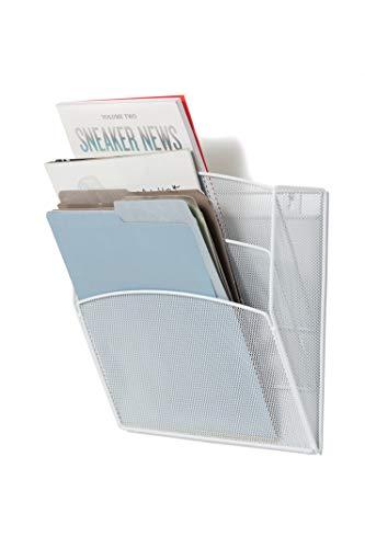 Klickpick Office Hanging Files Wall Mounted Metal Mesh Document File Organizer Magazine Holder Rack Organizer 3 Tier Section Racks Multipurpose Use to Display Files, Magazine, Newspapers (3t White) by Klickpick Office (Image #1)'
