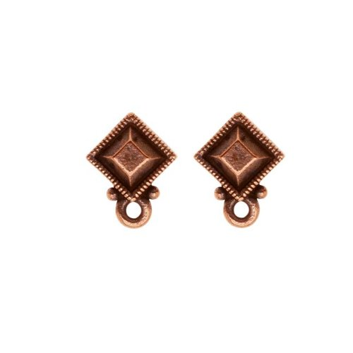 TierraCast Copper Plated Pewter Stud Post Earrings Faceted Diamond (1 Pair)