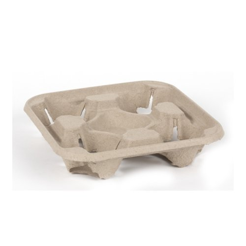 Disposable Moulded Pulp 4 Cup Carry Tray 2x90 (180 Pack) .13p per holder (ex vat) – great for parties, bbqs, picnics and events UKB439
