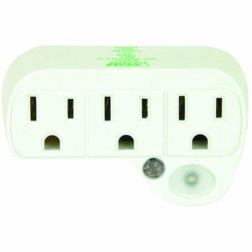 Feit Electric NL3/LED Three LED Sensor Night Light plus 3-Plug Outlet - Night Sensor